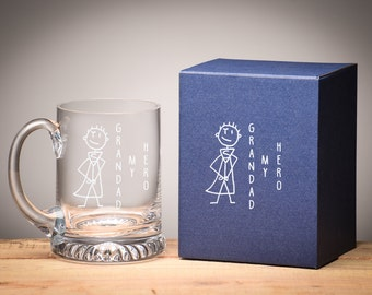 Personalised Beer Tankard Stein Father's Day Gift, Complete with Gift Box, Handmade Tankard.
