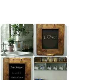 handmade chunky chalkboard, blackboard, in solid eco wood - with chalk holder detail -  industrial & rustic fusion from Somerset UK