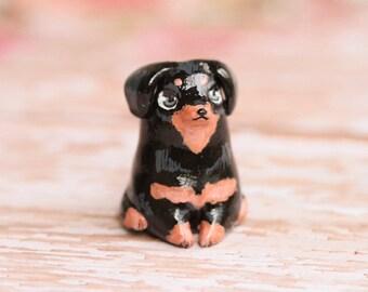 Dachshund Dog Figurine, Kawaii Dachshund Figure, Polymer Clay Dog Sculpture, OOAK Puppy Figurine, Small Clay Dog Sculpture, Dog Lover Gift