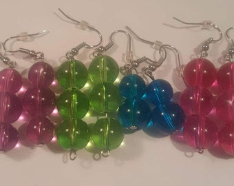 Pink, green, blue or purple glass beaded earrings handmade