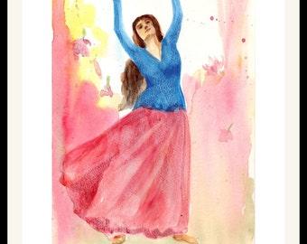 10% OFF on Original Indian Dancer Art, dancer Wall Art, Handmade Wall Decor, Watercolor, beautiful dancer, Original dance painting, gift art