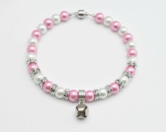 Pink & White Pearl Dog Collar - Pearl Cat Collar - Fancy Dog Collar - Fancy Cat Collar - Chihuahua Collar - Rhinestone Accents - Bell