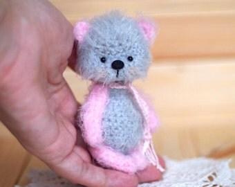 Ooak Artist Teddy bear 3.5 inches, miniature, animal creature present gift handmade toy