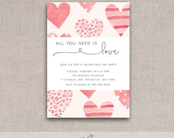 Valentines Day Party Invite Printable, watercolor, hearts