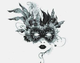 pre printed sewing panels - Fantasy Mask