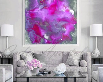 Purple And Gray Wall Art art abstract print lilac purple painting silver pink