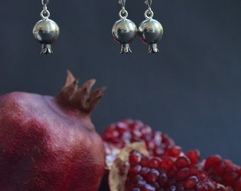 Persephone earrings, sterling silver, pomegranate earrings, elven jewelry, bohemian, mythology, fairy, witchy, pagan goddess, gothic