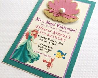 Ariel Invitations - Princess Ariel Invitations - Mermaid Invitations - Clam Shell Invitations - Princess Invitations - Handmade