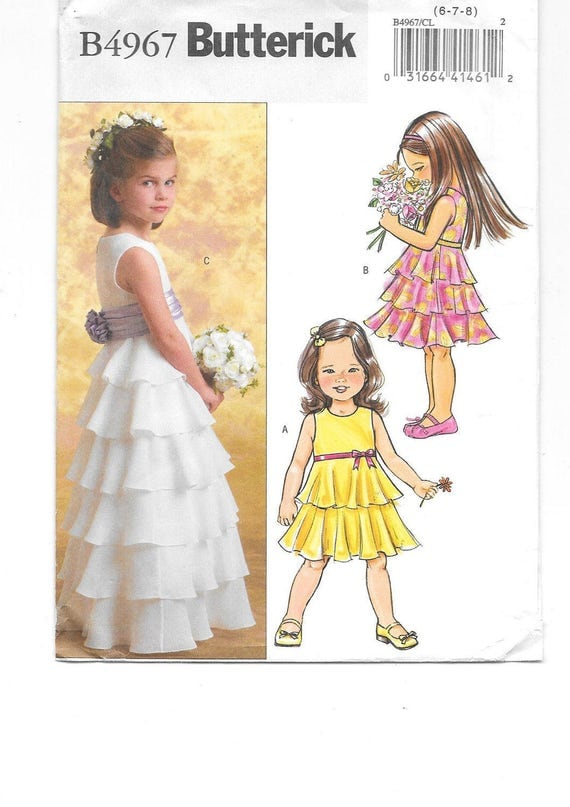 Girls Party Dress Sewing Pattern Flower Girl Dress With
