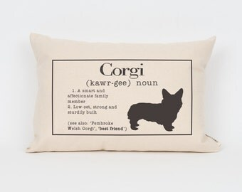 "Corgi Pillow 12""x18"" // Corgi Art // Corgi Mom // Dog Breed Pillow // Dog Mom // Dog Breed Art // Gift for Dog Lover // Pet Gift"