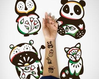 4 in 1 set - Kids Temporary Tattoo, Fox Penguin Panda Cow temporary Tattoo / Cute Animal Temporary Tattoo / Cute decorative Temporary Tattoo