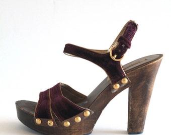 Late 90's Vintage Miu Miu Deep Purple Velvet and Wooden Platform Clog Heels