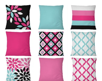 """Throw Pillow Covers, Hot Pink Aqua Black , 16"""" Cushion Covers, Accent Pillow Covers, Home Decor, Choose patterns for front and back!!!"""