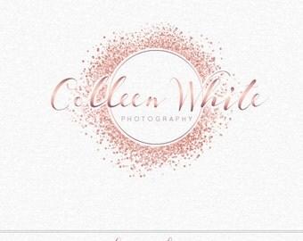 Rose Gold Glitter Logo, Confetti Logo, Circle Logo, Photography Logo, Event Planner Logo, Makeup Artist logo, Party Planner Logo, Watermark