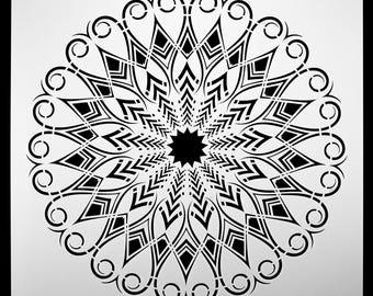Medicine Feather Mandala.  Wall / Art / Craft / Painting / Makeup / Furniture / Tattoo / Overlay Airbrush Stencil.