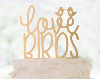 Cake Topper | Love Birds II | Metallic | Glitter | Wood | Gold | Rose Gold | Custom