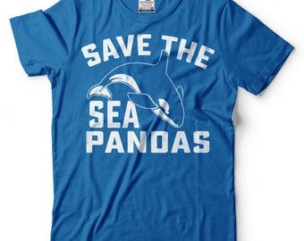 Save The Sea Pandas T-Shirt Funny Panda Tee Shirt