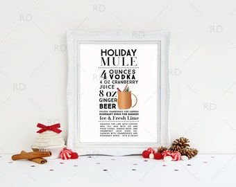 Holiday Moscow Mule Cocktail Recipe - PRINTABLE Wall Art / Holiday Drink Recipes Art / Mixed Drinks / Holiday Drinks / Christmas Printable