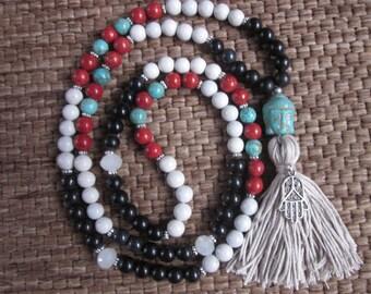 108 bead buddha mala long tassel necklace coral white black turquoise stone  buddha Hamsa hand charm bohemian long beaded tassel necklace