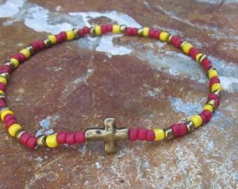 beaded anklet seed bead bracelet or anklet  custom mens cross bracelet red yellow antiqued gold cross ankle bracelet women's stretch anklet