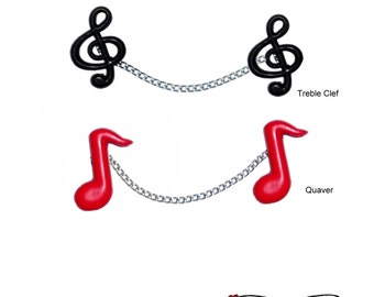 Music Notes Sweater Guard Clips ~ Treble Clef Quaver Pins