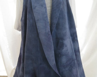 Overisized hand dyed smokey blue long cotton open vest, up cycled designer knit vest, funky artsy one of a kind layering top, art to wear
