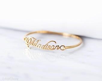 20% OFF* Custom Name Bangle - Personalized Bracelet - Personalized Bangle - Bridesmaid Gift - Wedding Gift