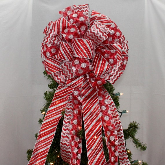 Red Silver Chevron Stripe Christmas Tree Topper Bow