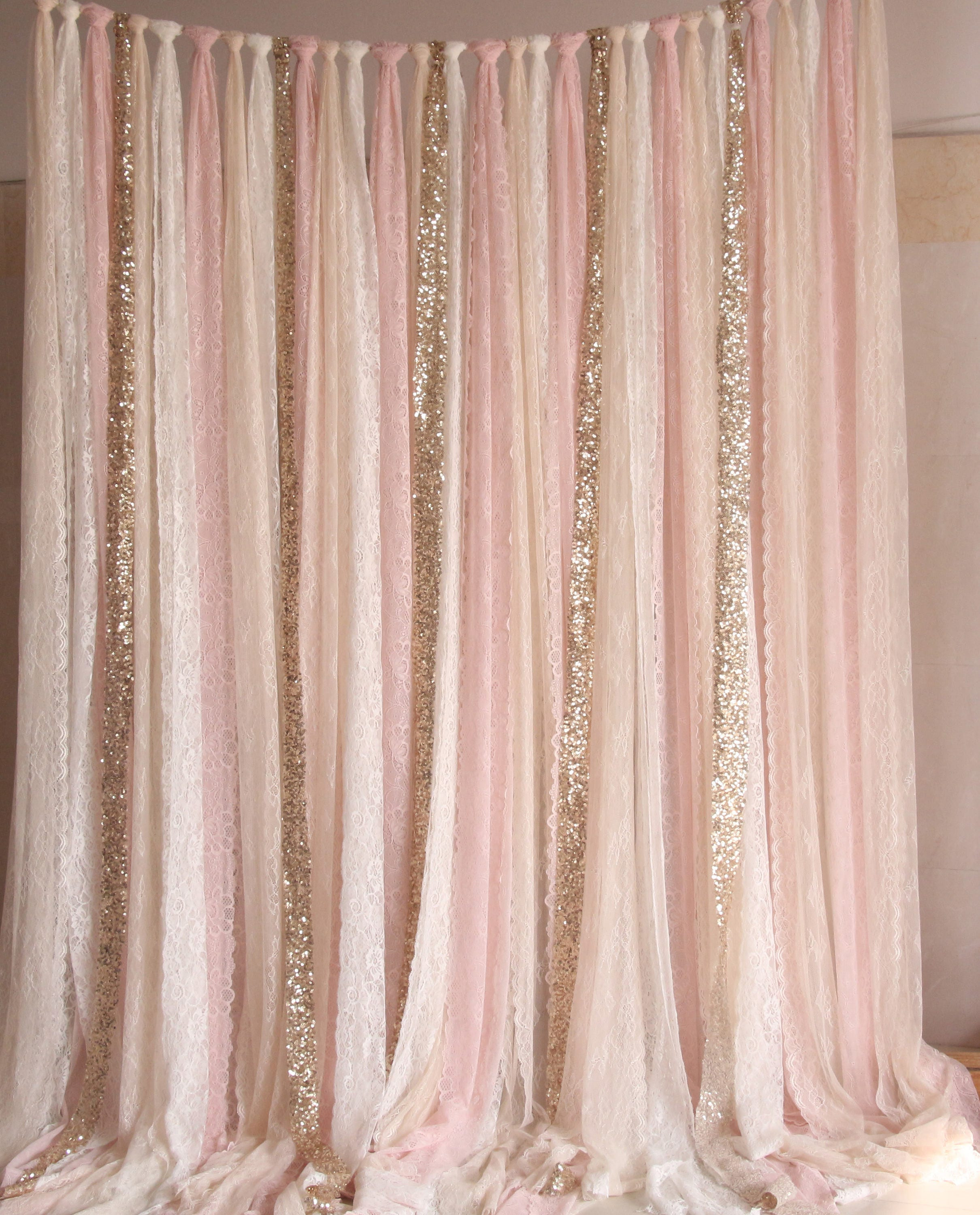 Pink white lace fabric gold sparkle photobooth backdrop for Backdrops decoration