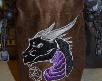 Dice Bag Black Dragon Embroidery on Dark Brown Suede