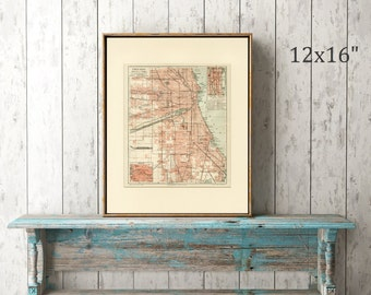 Vintage Map of Chicago, Illinois, USA C.1895 - Wall Art, Home Decor, Gift Idea - Cartography City Plans Vintage Decor - Matted 12x16