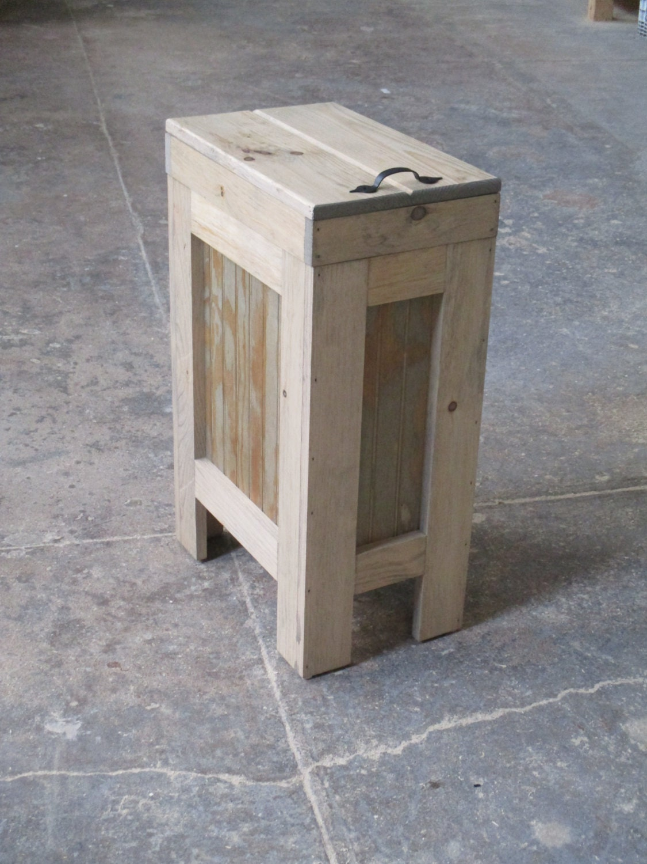 Wood Trash Bin Kitchen Garbage Can Wood Trash Can Rustic