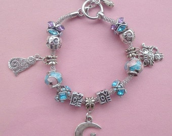 31- Cat on the Moon ~ Pand*ra Style Charm Bracelet Pink/Blue 2