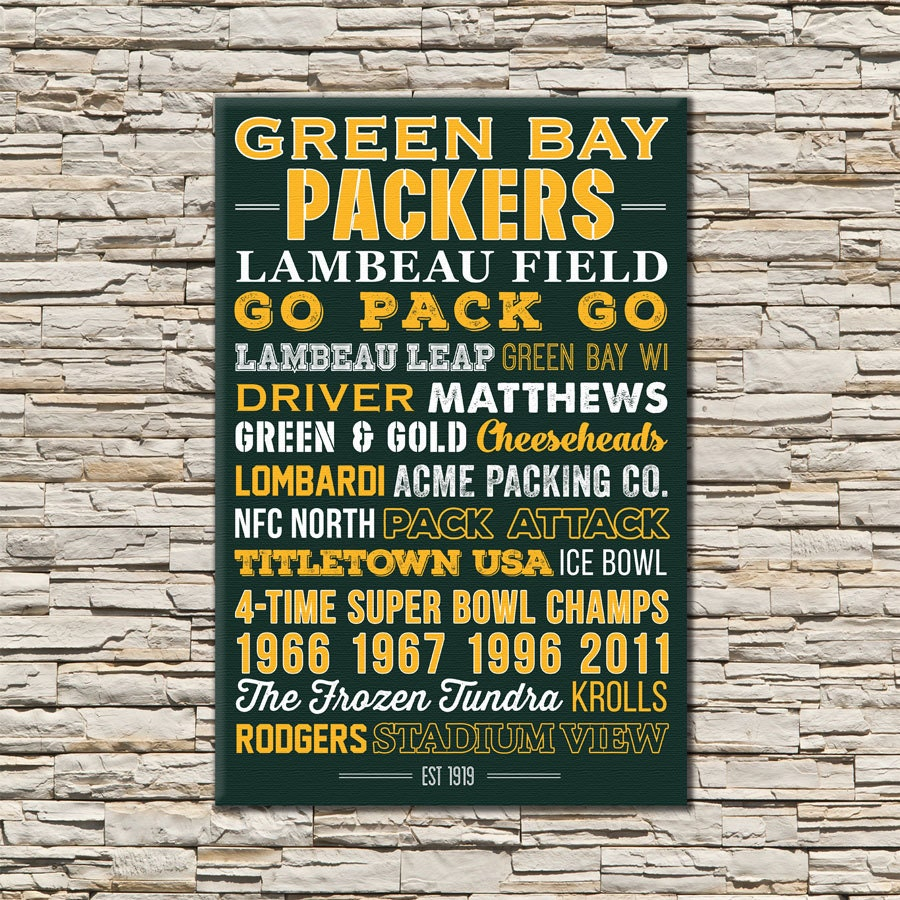 Green Bay Packers Wall Art green bay packers art canvas or poster