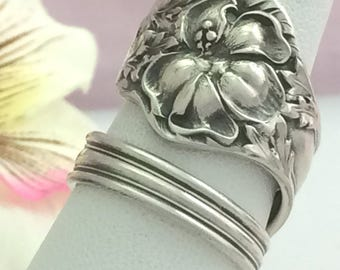 Sterling Spoon Ring, Lily Floral LANDERS 2, Size 8 - 12, Baker Manchester 1900 Antique Repurposed Flatware Jewelry, Gift, Collectible