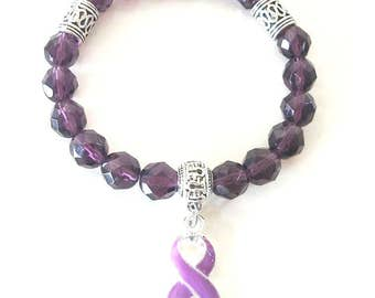 Purple Awareness Ribbon Beaded Charm Bracelet Pancreatic Cancer Alzheimers Dementia Crohns Disease Domestic Violence Foster Care Sarcoidosis