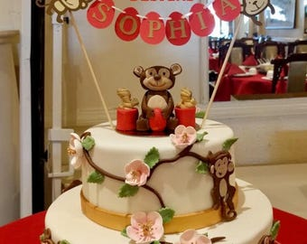 Year of the Monkey - Red Egg and Ginger Party - Personalized Cake Bunting Topper - Custom Name Cake Banner – Red and Gold