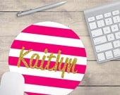 Pink Gold Glitter Mouse Pad, Glitz Mouse Pad, Pink and White Stripes Mouse Pad, Personalized Mouse Pad, Name On Mouse Pad (0081)