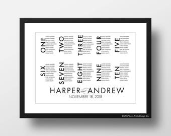 Wedding Seating Chart, Modern Seating Chart, Seating Chart Template, Seating Chart Poster, Wedding Signs,  By Table Number, Seating Plan