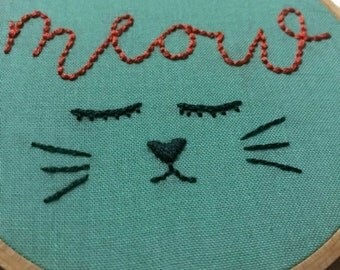 Cat's Meow Hand Embroidery Hoop Art - 50% of your purchase price will be donated!