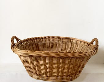 French Antique Laundry Basket - Large Size - Vintage French Basket - Handwoven Basket - Wicker Basket - French Willow Basket - Buanderie
