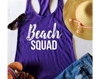 Beach Squad Fitted Racerback Tank Top, XS-2XL, Bachelorette Party Shirts, Wine Tasting Trip, Gift For Her, Beach Apparel