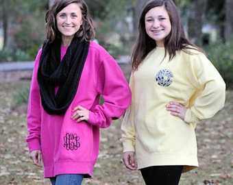 HIP Monogrammed Comfort Colors Sweatshirt Unisex Sizes Personalize with your Initials, Monogram or State Embroidery