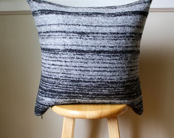 Black and White Striped Pendleton Wool Pillow Cover - 20x20