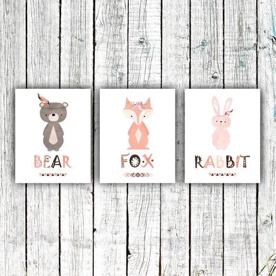 Nursery Art Printable, Woodland Tribal Nursery, Bear, Fox, Rabbit, Baby Girl, Digital Download Size Set of 3 8x10 #617