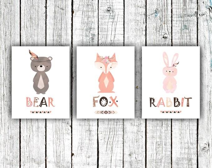 Nursery Art Printable, Woodland Tribal Nursery, Bear, Fox, Rabbit, Baby Girl, Digital Download Size Set of 3 8x10 #617