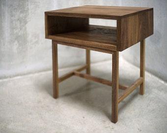 Solid Black Walnut Side Table/ Nightstand with Bridged Legs