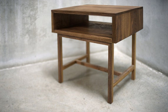 Solid Black Walnut Side Table/ Nightstand With Bridged Legs