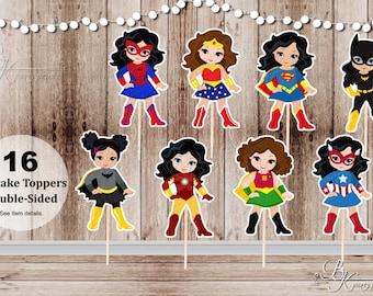 Superhero Girl Party - Set of 16 Assorted Girl Superhero Cupcake Toppers