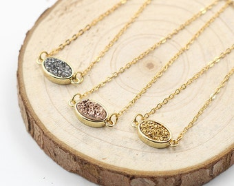 Druzy Necklaces -- Druzzy Choker Electroplated Gold Edge Drusy Jewelry Geode Bridesmaid Gift Necklaces dainty CQA-007
